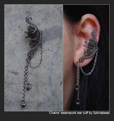 Chains steampunk ear cuff by bodaszilvia