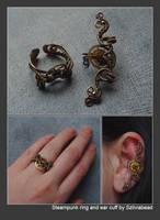 Steampunk ear cuff and ring by bodaszilvia