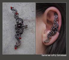 Garnet ear cuff by bodaszilvia