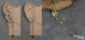 TIMELESS steampunk ear cuff and earring by bodaszilvia
