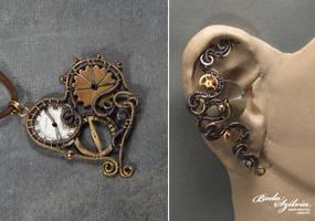 Steampunk heart and ear cuff by bodaszilvia