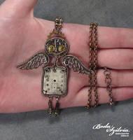 GUARDIAN ANGEL ROBOT OOAK steampunk pendant by bodaszilvia