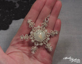 Moonstone snowflake pendant by bodaszilvia