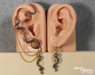Steampunk ear wrap set by bodaszilvia