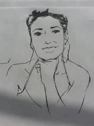 Emmanuelle Chriqui ink drawing by art-of-stroke