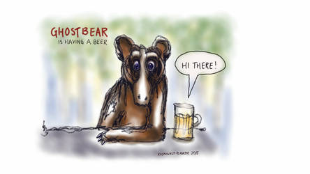 Ghostbear is having a beer by KOSMONAUTPLANEMO