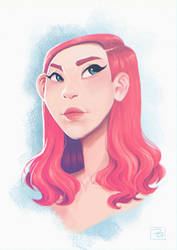 Pink hair Girl by Hi-Gummy