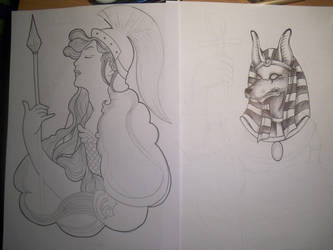 Athenea and Anubis tattoo WIP by Shinu-chan