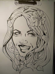 Poison Ivy on chinese ink WIP by Shinu-chan
