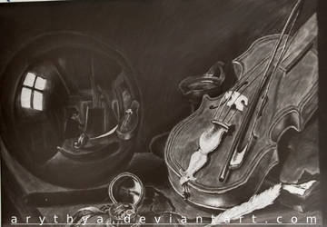 [Inverted]Still Life with Violin and Glass Ball by Arythya