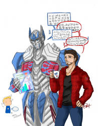 Tony and Optimus 1 by hayatecrawford