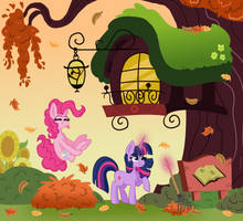 Commission: Falling Leaves by Pink-Pone
