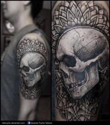 trash skull mandala tattoo by redtrujillo