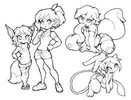 Pokemon Ladies Go Trainer Eevee Lickitung Mew by dan-heron