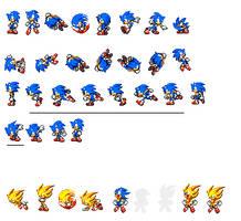 Classic Sonic sprites by dinojack9000