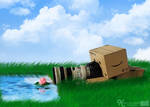Danbo and his new camera by Sketchylious