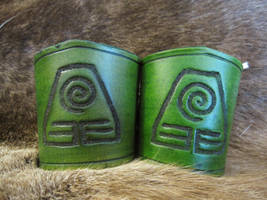 Earth Nation Leather Cuffs by AThousandRasps