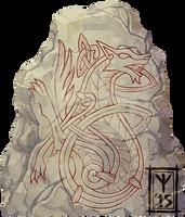 Norse Wolf Runestone by AThousandRasps