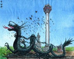 Busan. Dragon in Yongdusan park by Vokabre