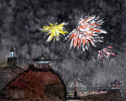 Sokcho. New year's fireworks at midnight by Vokabre