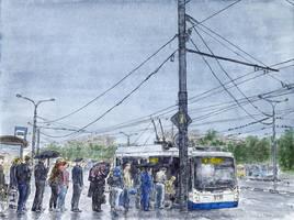 Trolleybus stop at Vykhino metro station by Vokabre