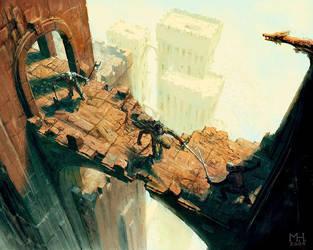 Crumbling Footbridge by Prasa
