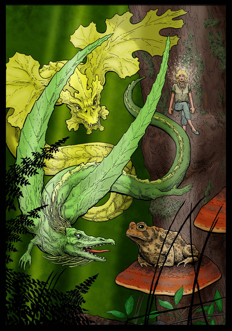 Playful dragons, worried toad by PetaloMaM