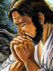 Jesus Praying- painting by genaminna