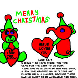 Red And Green Christmass Bear Wih A Elephant by Angelica124