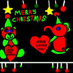 Red And Green Christmass Bear Wih A Elephant  Frie by Angelica124