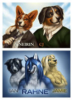 Badges - Neirin, CJ, Rahne by Nimrais