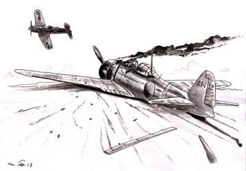 Scorched A6M Zero by emalterre