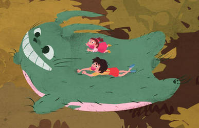 Totoro, Mei, and Satsuki close by nickbachman