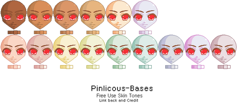 Skin Tone Palettes II by Pinlicous-Bases