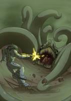 Man versus Tentacle Beast by Morgoth883