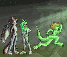 OC - UFO nabbs our clothes by Morgoth883
