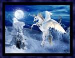 Snow Unicorn Horse Pony Equine White Blue winter by StephanieSmall