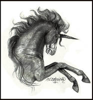 Midnight Horror Skeleton Unicorn Horse by StephanieSmall