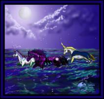 Ocean Unicorn Horse Pony Moon Dragon by StephanieSmall