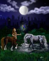 unicorn fairy pony horse city night moon commissio by StephanieSmall