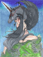 Winged unicorn Angel Girl Woman Horse Pony Pegasus by StephanieSmall