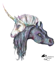 Black Horse White Unicorn Magical Cute Loving Love by StephanieSmall