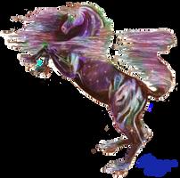 black rainbow stallion horse pony rearing colorful by StephanieSmall