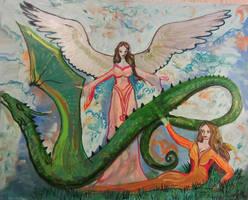 woman elf dragon angel female reptile monster blue by StephanieSmall
