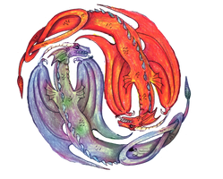 Yin Yang Dragon Fire Water Fantasy red orange yell by StephanieSmall