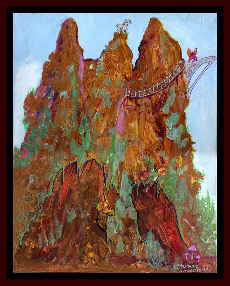 Dragon Cave Goat Fairy Bridge Mountain Sky by StephanieSmall