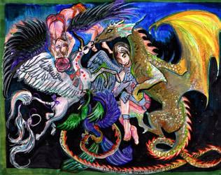 Angel Dragon Unicorn Phoenix Horse pony pegasus by StephanieSmall