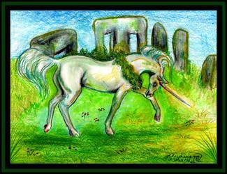 Unicorn green stonehenge pony equine Eponae Horse by StephanieSmall