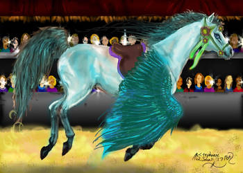 Aganippe Light Side Teal Pegasus Unicorn Horse by StephanieSmall