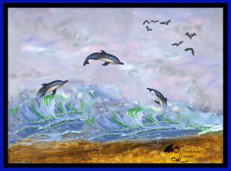 Dolphin Seagull Sea Bird Wild Animals Ocean Sea Ce by StephanieSmall